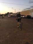 Stuart rolls out for the last 48 miles...in the dark...on gravel!